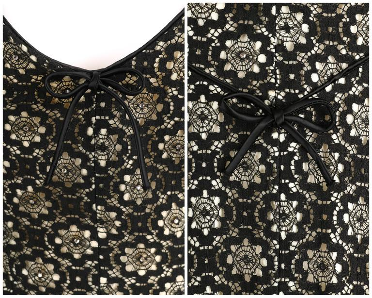 MISS JANE JUNIOR c.1950's Black Floral Lace Rhinestone Embellished Party Dress 8