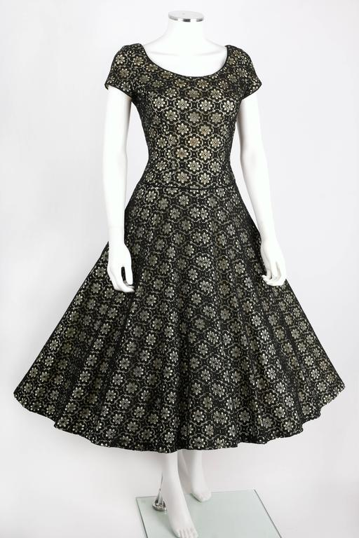 MISS JANE JUNIOR c.1950's Black Floral Lace Rhinestone Embellished Party Dress 2