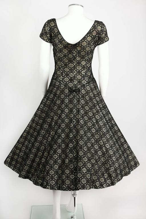 MISS JANE JUNIOR c.1950's Black Floral Lace Rhinestone Embellished Party Dress 4