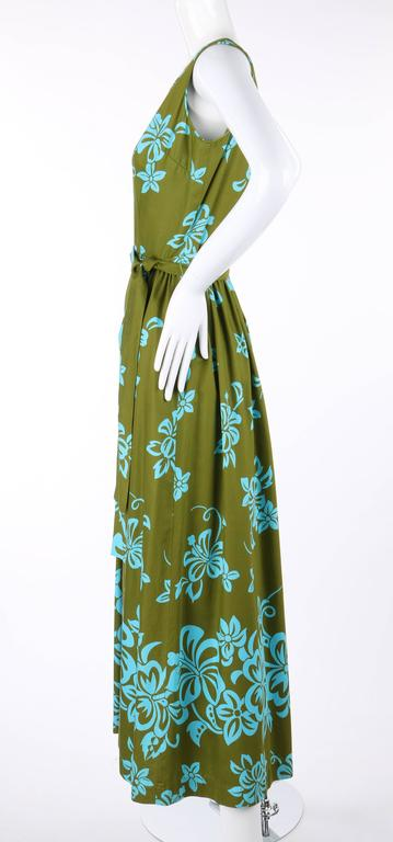 WALTAH CLARKE'S HAWAIIAN SHOP c.1960's Olive Green & Turquoise Floral Jumpsuit For Sale 1