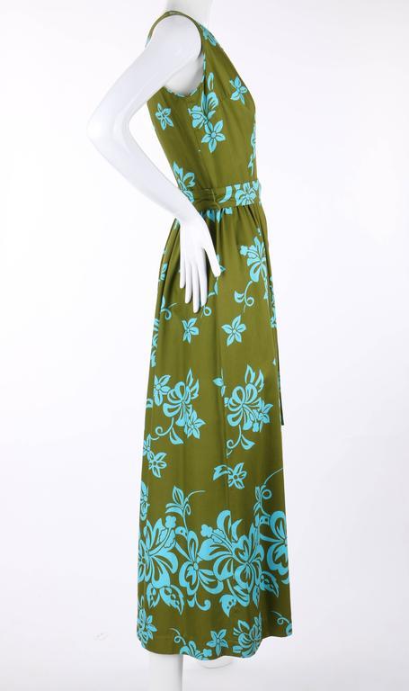Women's WALTAH CLARKE'S HAWAIIAN SHOP c.1960's Olive Green & Turquoise Floral Jumpsuit For Sale