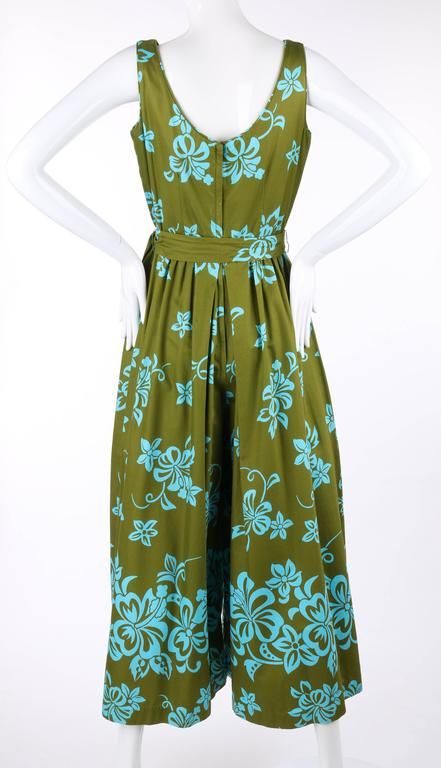 WALTAH CLARKE'S HAWAIIAN SHOP c.1960's Olive Green & Turquoise Floral Jumpsuit For Sale 2