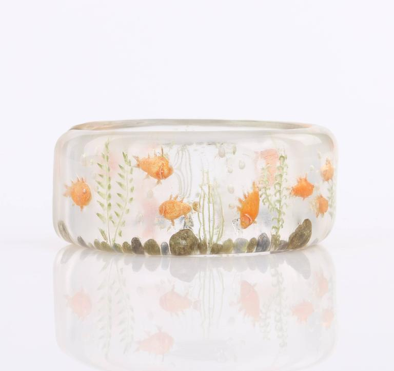 C 1940 S Clear Plastic Lucite Reversed Hand Carved