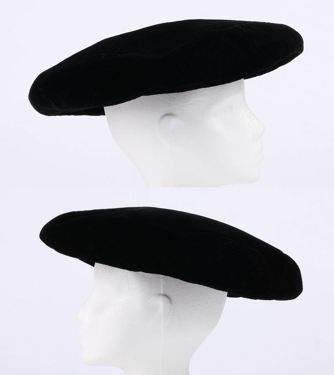 YVES SAINT LAURENT c.1960 s YSL Mod Black Velvet Saucer Tam Hat For Sale 2 9e8c51ef2708