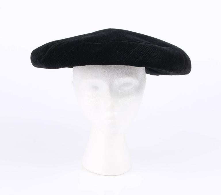 Women s YVES SAINT LAURENT c.1960 s YSL Mod Black Velvet Saucer Tam Hat For  Sale 78c4f51fe67f