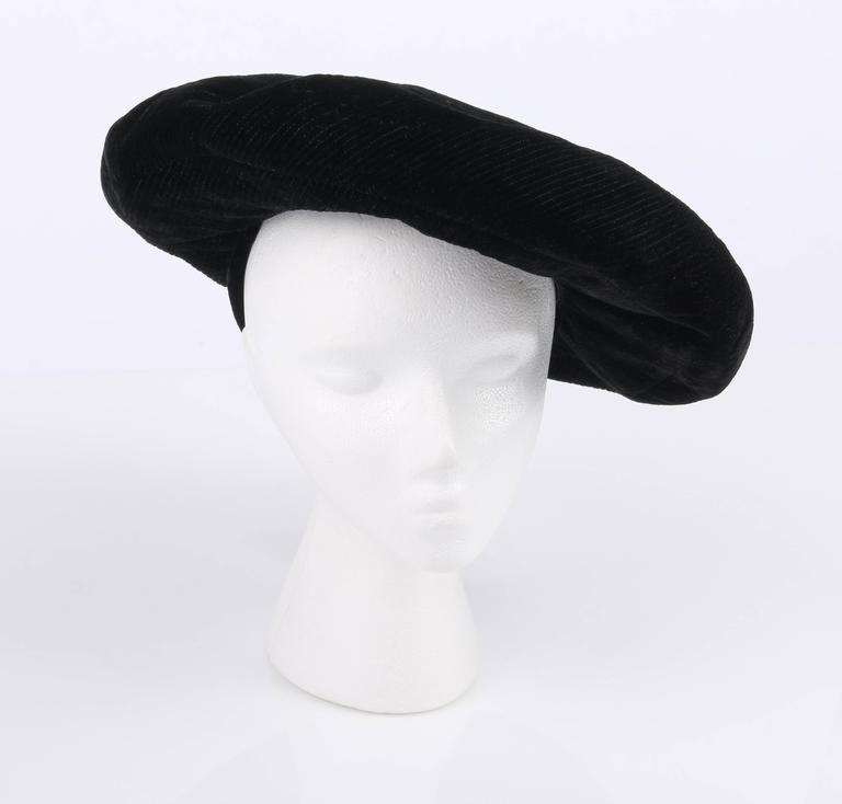 YVES SAINT LAURENT c.1960 s YSL Mod Black Velvet Saucer Tam Hat In  Excellent Condition cdb7ac78b086