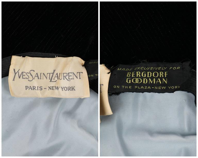 YVES SAINT LAURENT c.1960's YSL Mod Black Velvet Saucer Tam Hat For Sale 1