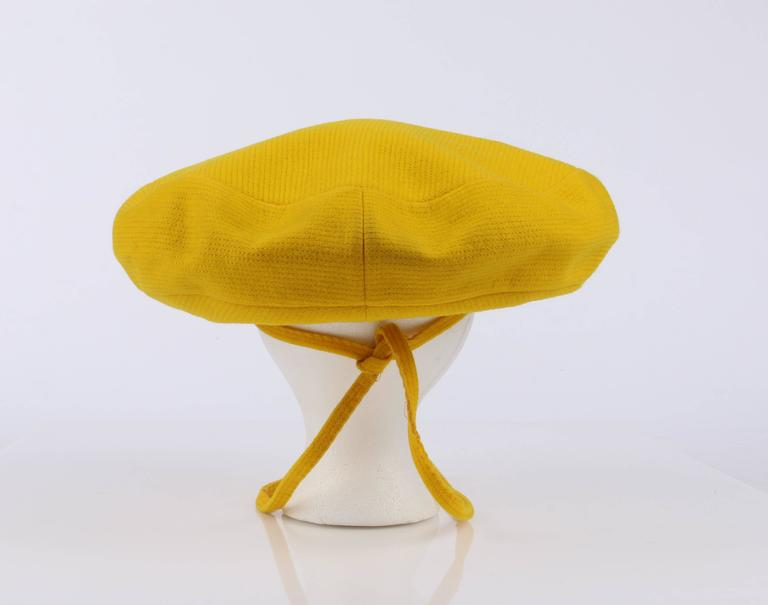 YVES SAINT LAURENT c.1960's YSL Mod Yellow Wool Saucer Tam Hat For Sale 2