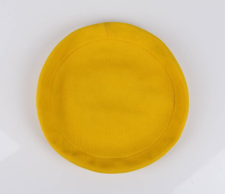 YVES SAINT LAURENT c.1960's YSL Mod Yellow Wool Saucer Tam Hat For Sale 3