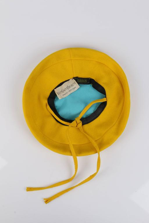 YVES SAINT LAURENT c.1960 s YSL Mod Yellow Wool Saucer Tam Hat For Sale 4 bfdf1093a10e