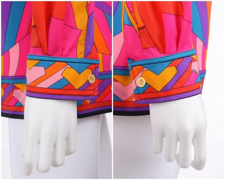 LEONARD Paris c.1973 Fashion Multicolor Geometric Signature Print Blouse For Sale 3