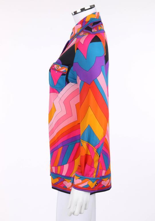 LEONARD Paris c.1973 Fashion Multicolor Geometric Signature Print Blouse For Sale 1