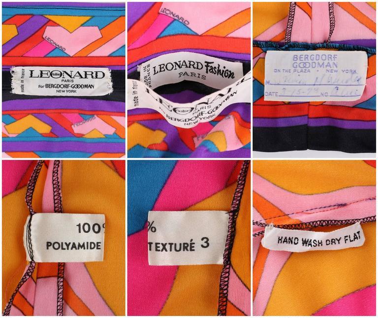 LEONARD Paris c.1973 Fashion Multicolor Geometric Signature Print Blouse For Sale 4