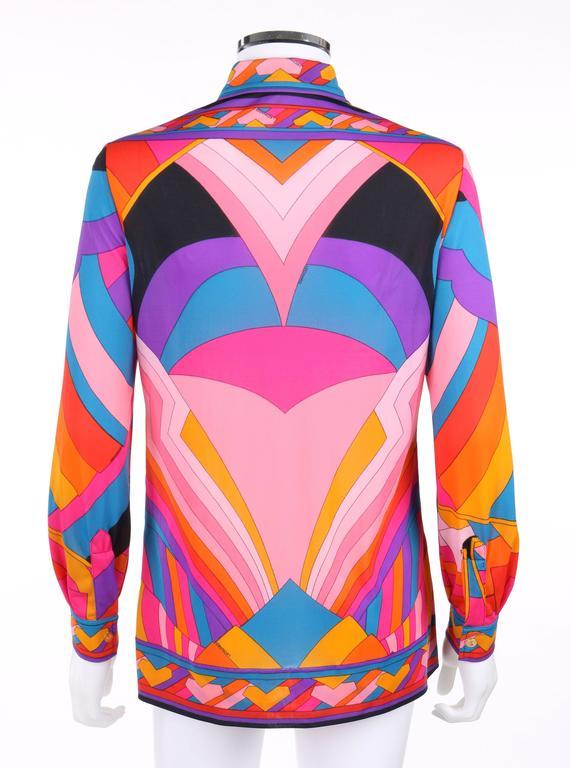 Women's LEONARD Paris c.1973 Fashion Multicolor Geometric Signature Print Blouse For Sale