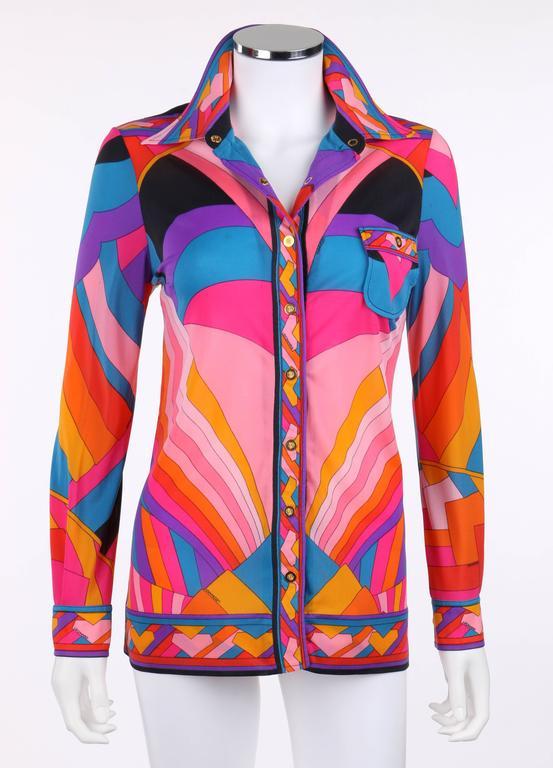 Pink LEONARD Paris c.1973 Fashion Multicolor Geometric Signature Print Blouse For Sale