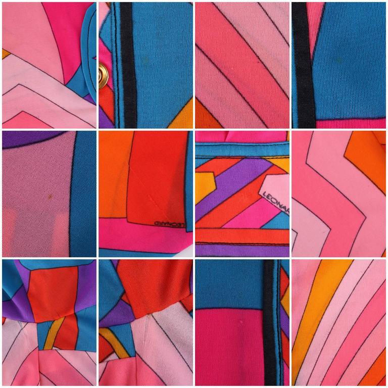 LEONARD Paris c.1973 Fashion Multicolor Geometric Signature Print Blouse For Sale 5