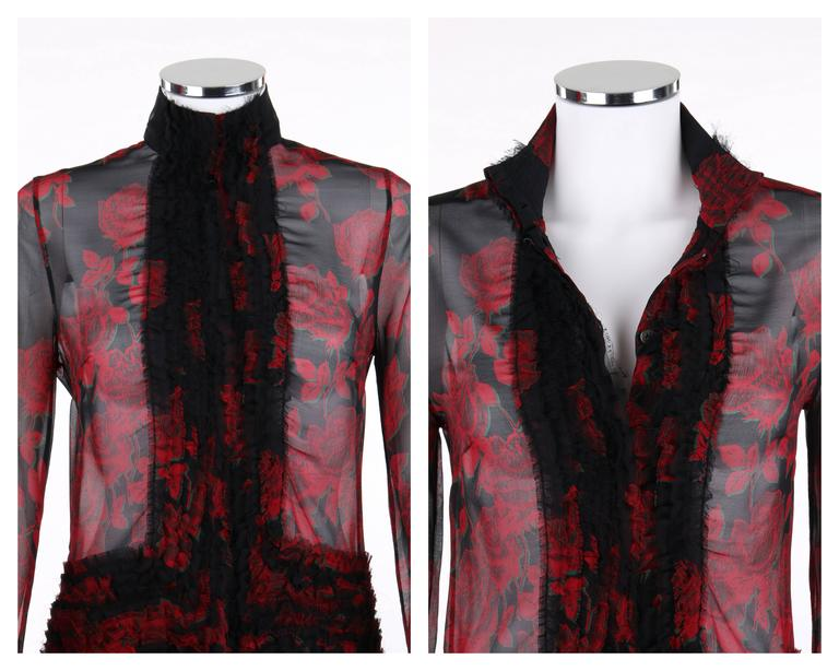 """ALEXANDER McQUEEN S/S 2002 """"Dance Of The Twisted Bull"""" Rose Print Chiffon Blouse For Sale 1"""