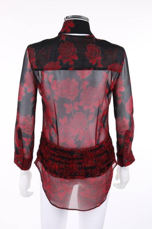 """ALEXANDER McQUEEN S/S 2002 """"Dance Of The Twisted Bull"""" Rose Print Chiffon Blouse In Excellent Condition For Sale In Thiensville, WI"""
