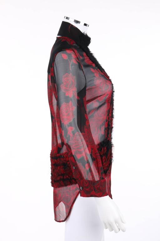 """Brown ALEXANDER McQUEEN S/S 2002 """"Dance Of The Twisted Bull"""" Rose Print Chiffon Blouse For Sale"""