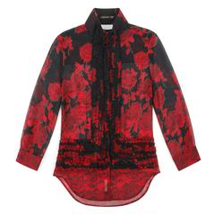 "ALEXANDER McQUEEN S/S 2002 ""Dance Of The Twisted Bull"" Rose Print Chiffon Blouse"