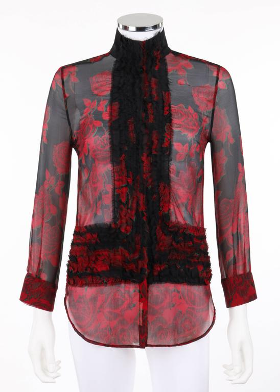 """Alexander McQueen S/S 2002 rose print chiffon blouse. From Alexander McQueen's """"Dance of the Twisted Bull"""" collection. Runway look #51. Red and green rose print on black silk chiffon. Tall mandarin collar which is only attached at center"""
