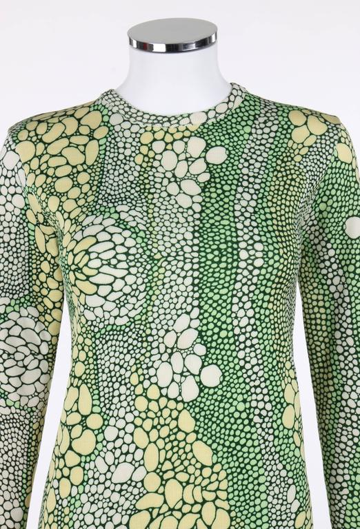 GIVENCHY Sport c.1970's Multicolor Reptile Print Long Sleeve Crewneck Top For Sale 1