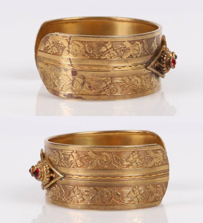 Women's VICTORIAN REVIVAL c.1930's Floral Etched Brass Red Crystal Cuff Bracelet For Sale