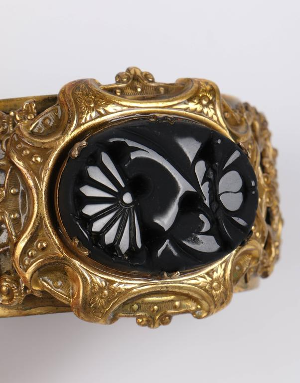 VICTORIAN REVIVAL c.1930's Brass Filigree Carved Black Onxy Cuff Bracelet For Sale 5