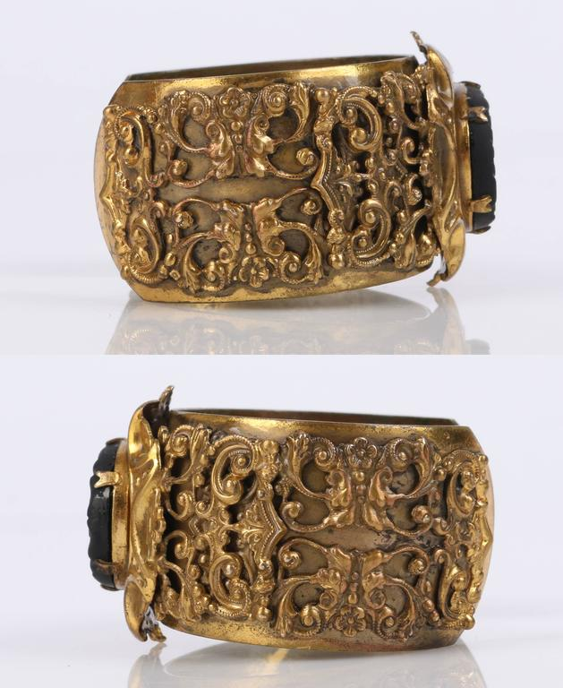 Women's VICTORIAN REVIVAL c.1930's Brass Filigree Carved Black Onxy Cuff Bracelet For Sale