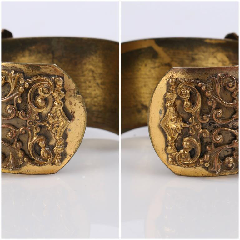VICTORIAN REVIVAL c.1930's Brass Filigree Carved Black Onxy Cuff Bracelet For Sale 6