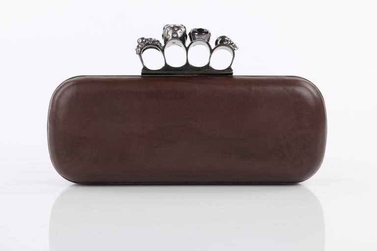 Black ALEXANDER McQUEEN S/S 2010 Brown Leather Long Skull Knuckle Duster Box Clutch For Sale