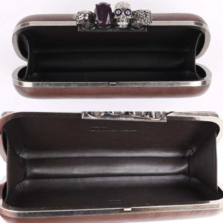 ALEXANDER McQUEEN S/S 2010 Brown Leather Long Skull Knuckle Duster Box Clutch For Sale 2