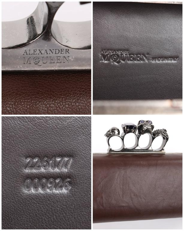 ALEXANDER McQUEEN S/S 2010 Brown Leather Long Skull Knuckle Duster Box Clutch For Sale 4