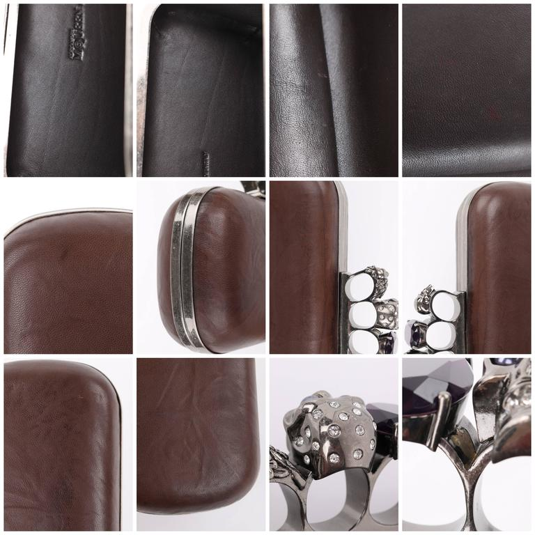 ALEXANDER McQUEEN S/S 2010 Brown Leather Long Skull Knuckle Duster Box Clutch For Sale 5