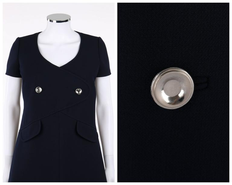 COURREGES Paris c.1960's Navy Blue Wool Mod A-Line Dress For Sale 1