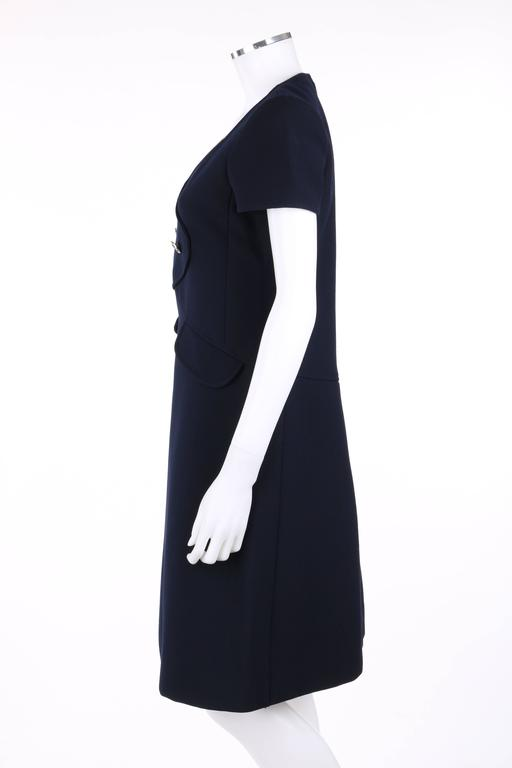 Women's COURREGES Paris c.1960's Navy Blue Wool Mod A-Line Dress For Sale