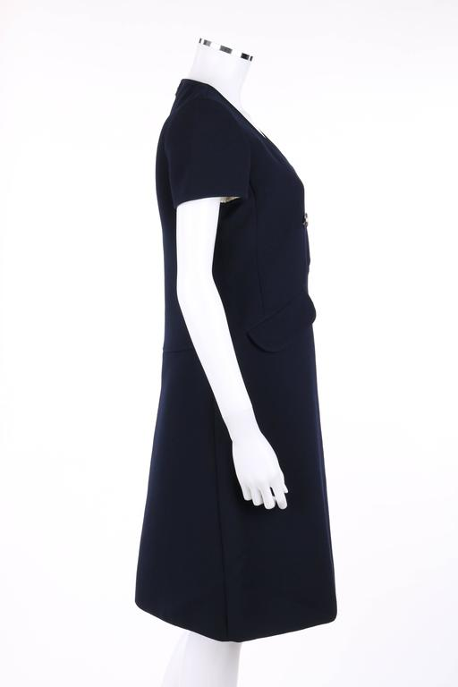 Black COURREGES Paris c.1960's Navy Blue Wool Mod A-Line Dress For Sale