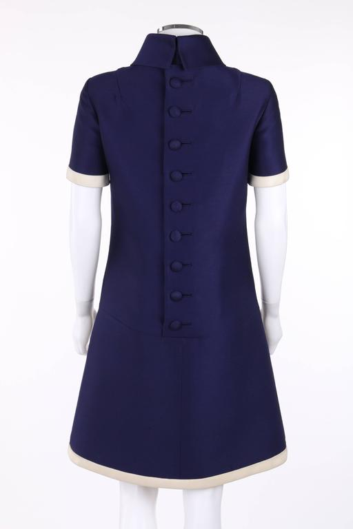 Women's JEAN PATOU c.1960's KARL LAGERFELD Blue Wool A-Line Shift Dress Crystal Detail For Sale