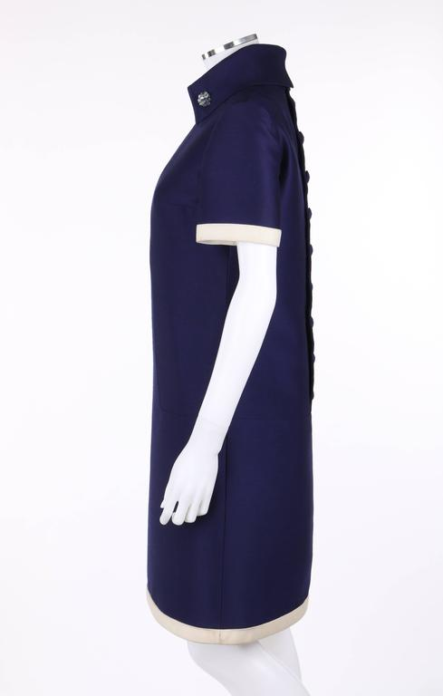 JEAN PATOU c.1960's KARL LAGERFELD Blue Wool A-Line Shift Dress Crystal Detail 5