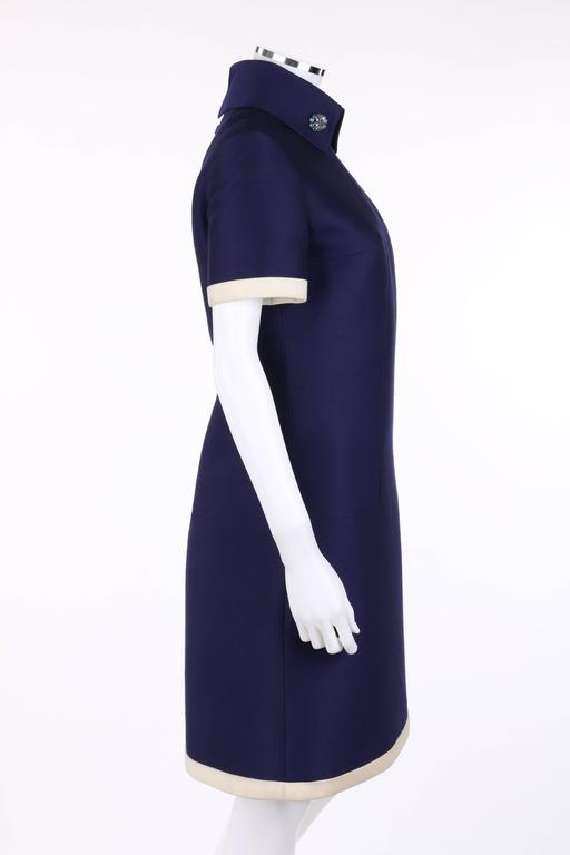 JEAN PATOU c.1960's KARL LAGERFELD Blue Wool A-Line Shift Dress Crystal Detail 3