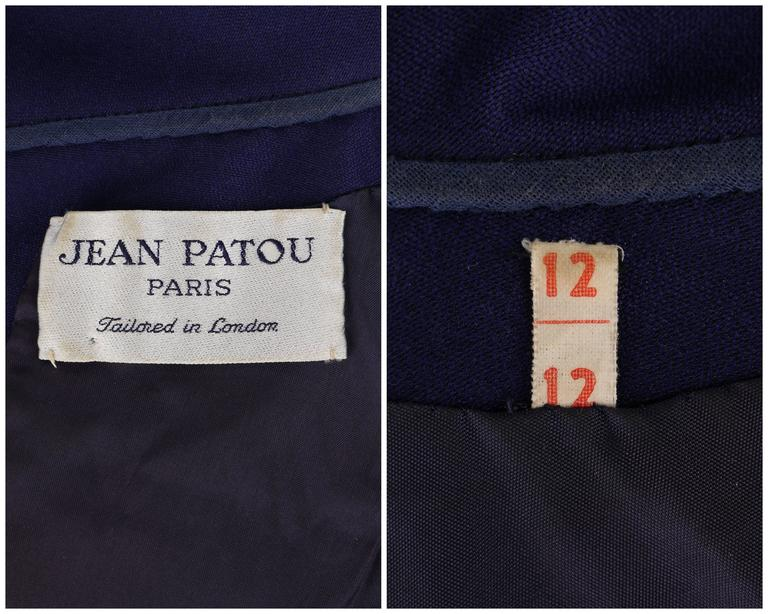 JEAN PATOU c.1960's KARL LAGERFELD Blue Wool A-Line Shift Dress Crystal Detail 8