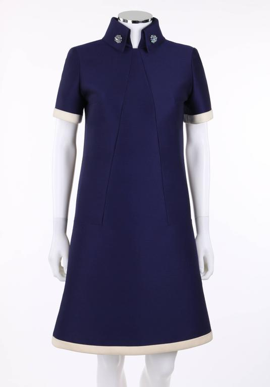 JEAN PATOU c.1960's KARL LAGERFELD Blue Wool A-Line Shift Dress Crystal Detail 2