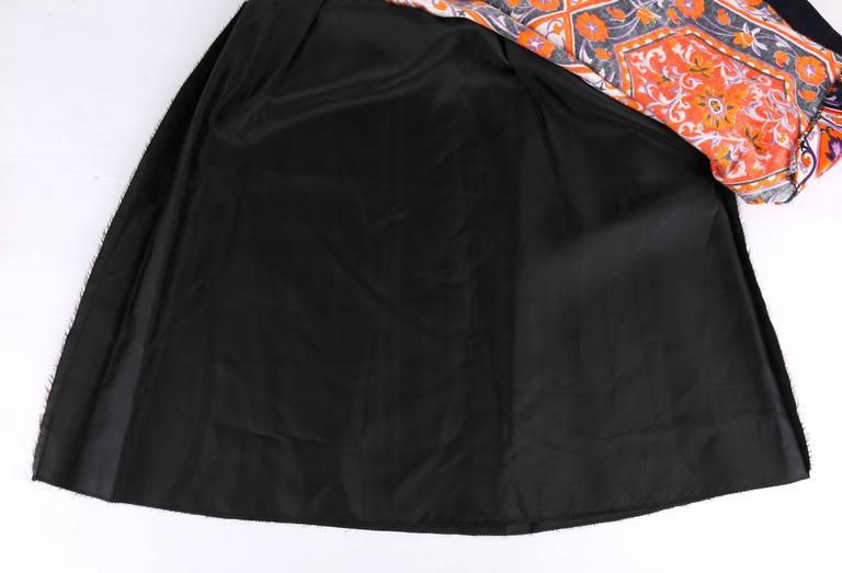 MR. DINO c.1970's Multicolor Floral Geometric Print Velvet Maxi Skirt For Sale 2
