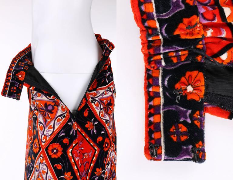 MR. DINO c.1970's Multicolor Floral Geometric Print Velvet Maxi Skirt For Sale 1