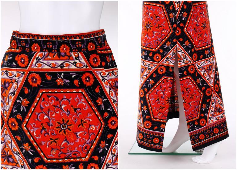 Women's MR. DINO c.1970's Multicolor Floral Geometric Print Velvet Maxi Skirt For Sale