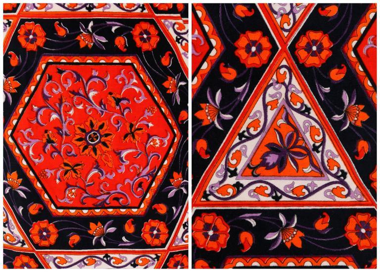 MR. DINO c.1970's Multicolor Floral Geometric Print Velvet Maxi Skirt For Sale 3