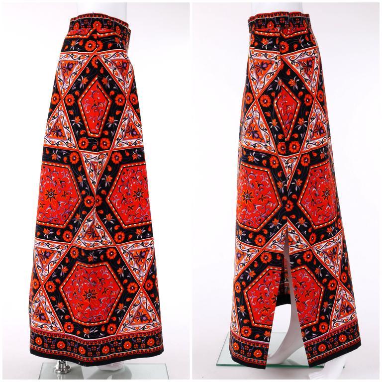 Red MR. DINO c.1970's Multicolor Floral Geometric Print Velvet Maxi Skirt For Sale