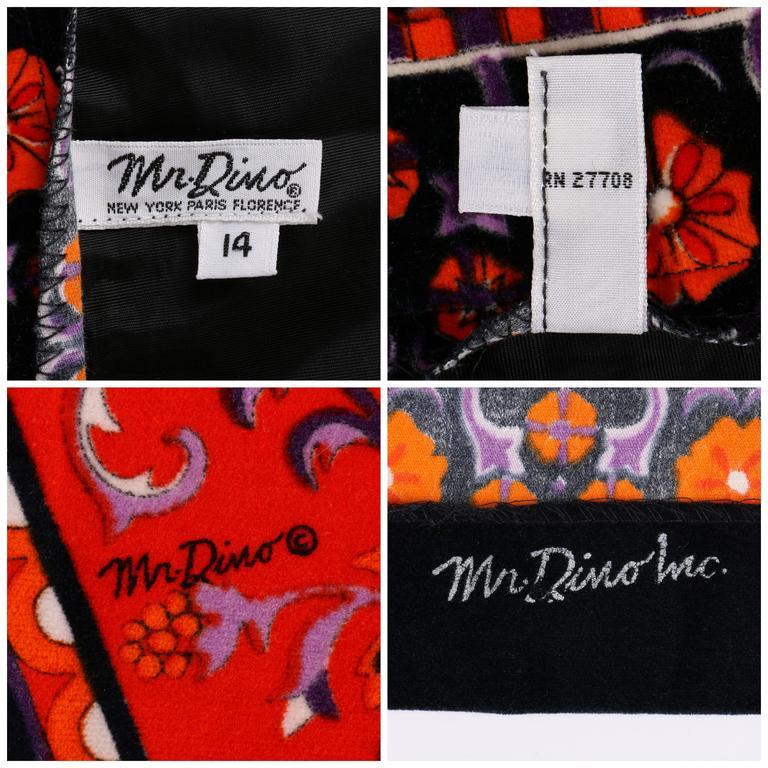 MR. DINO c.1970's Multicolor Floral Geometric Print Velvet Maxi Skirt For Sale 4