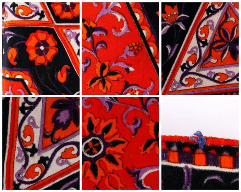 MR. DINO c.1970's Multicolor Floral Geometric Print Velvet Maxi Skirt For Sale 5