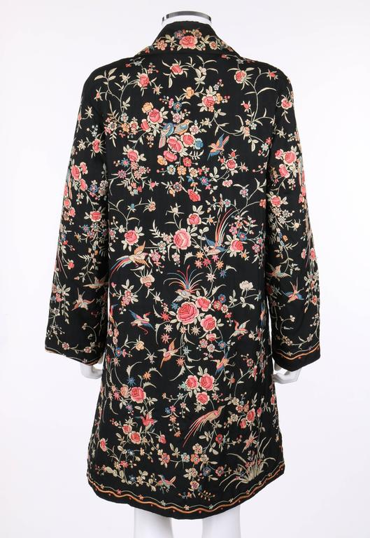 Couture C 1920 S Black Silk Multicolored Chinese Floral